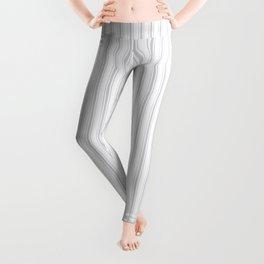 Soft Grey Mattress Ticking Narrow Striped Pattern - Fall Fashion 2018 Leggings