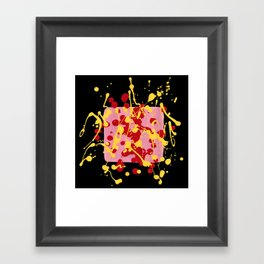 Paint Dance Pink Square Yellow Red on Black Framed Art Print