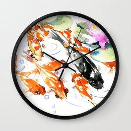Nine Koi Fish, 9 KOI, feng shui artwork asian watercolor ink painting Wall Clock