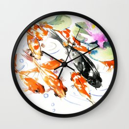 Nine Koi Fish, 9 KOI, feng shui artwork asian watercolor ink painting Wall Clock