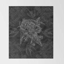 Messy flower Throw Blanket