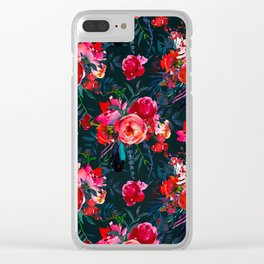 Neon pink fuchsia black watercolor modern floral Clear iPhone Case