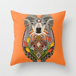 Aries ram orange Throw Pillow