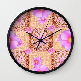 Delicate French Style Fuchsia Pink Wild Rose Gold Jewelry Abstract Wall Clock