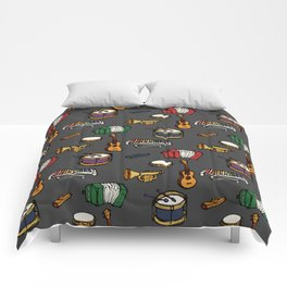 Toy Instruments on Grey Comforters