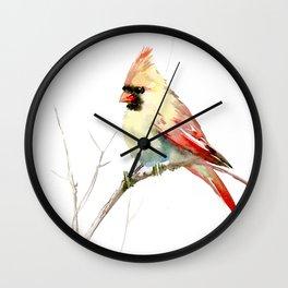 Northern Cardinal (female Cardinal bird) Wall Clock