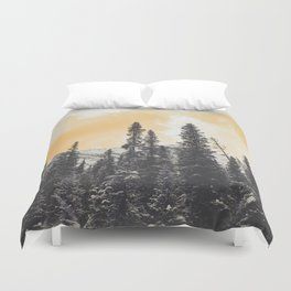 Orange Skys Above the Pines Duvet Cover
