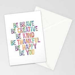 BE BRAVE BE CREATIVE BE KIND BE THANKFUL BE HAPPY BE YOU rainbow watercolor Stationery Cards