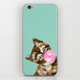 Bubble Gum Baby Cat in Green iPhone Skin