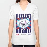 politics V-neck T-shirts featuring Polar Bear Politics by Clore Concepts Chucks Stuff