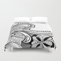 zentangle Duvet Covers featuring zentangle by Pinkspoisons