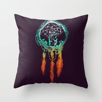 dreams Throw Pillows featuring Dream Catcher (the rustic magic) by Picomodi