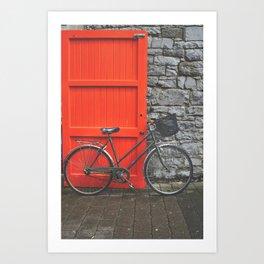 Red Door and Vintage Bicycle  Art Print