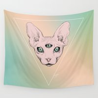 sphynx Wall Tapestries featuring SPHYNX. by paintparamore