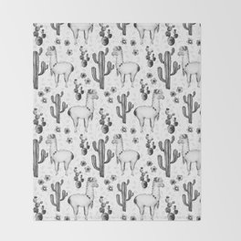 Llama Llamarama + Cactus 2 Throw Blanket