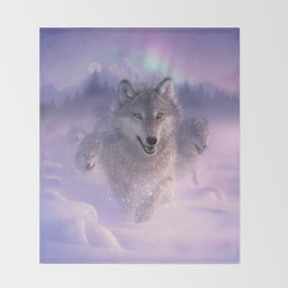 Wolf Pack Running - Northern Lights Throw Blanket