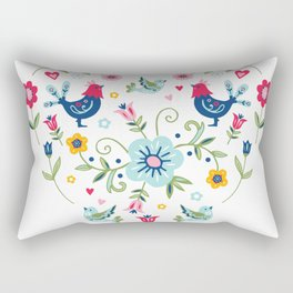 Scandi Folk Chickens Rectangular Pillow