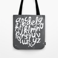 alphabet Tote Bags featuring ALPHABET by Kiley Victoria