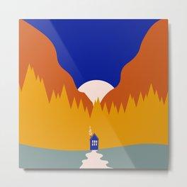 Tiny House Moon Metal Print