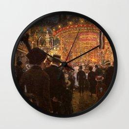 Carnival Fairgrounds by Hans Baluschek Wall Clock