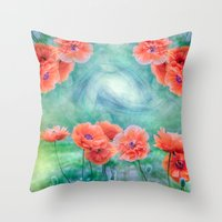 poppies Throw Pillows featuring Poppies by LudaNayvelt