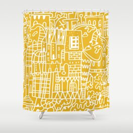 Pantone 2021 Doodle Crazy House Village Urban Space Architecture Sunshine Yellow Shower Curtain