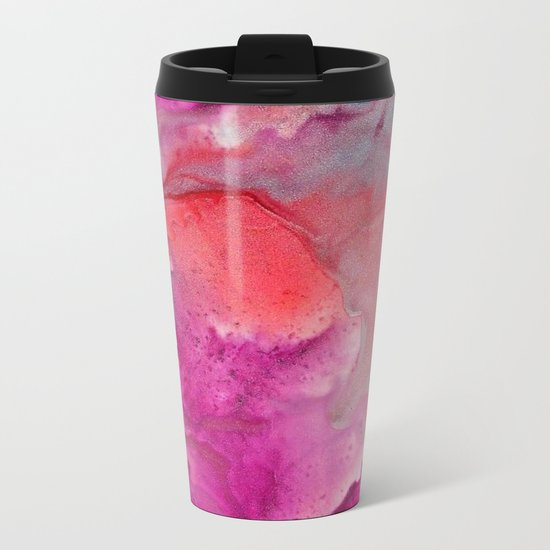 Abstract in Pink Metal Travel Mug