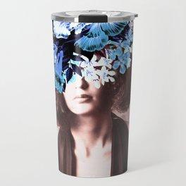 Floral Woman Vintage Blue and Pink Rose Gold Travel Mug