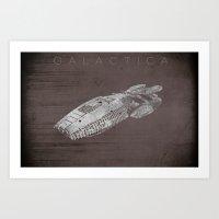battlestar galactica Art Prints featuring Battlestar Galactica BSG minimalist Galactica by depdesigns