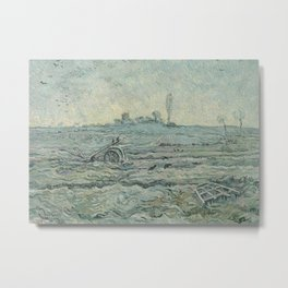 Snow-Covered Field with a Harrow (after Millet) Metal Print