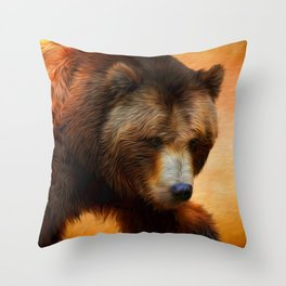 Grizzly Bear Painted Throw Pillow