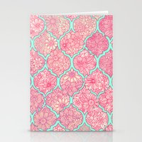 moroccan Stationery Cards featuring Moroccan Floral Lattice Arrangement in Pinks by micklyn