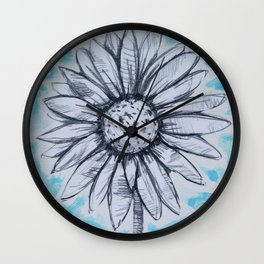 b/w flowers on a colored background Wall Clock
