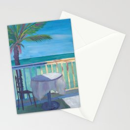 Seaview Cafe Table at the Caribbean With Palm Stationery Cards