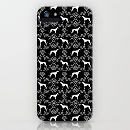 Greyhound floral silhouette black and white minimal dog silhouette dog breed pattern iPhone Case