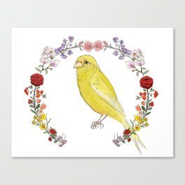 Canary in Floral Wreath Canvas Print