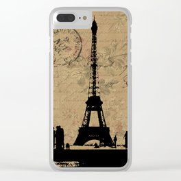 EIFFEL TOWER FRENCH COLLAGE Clear iPhone Case