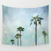 palm trees Wall Tapestries featuring Palm trees by Sylvia Cook Photography