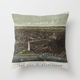 The City of Washington Birds-Eye view from the Potomac-looking North (1892) Throw Pillow