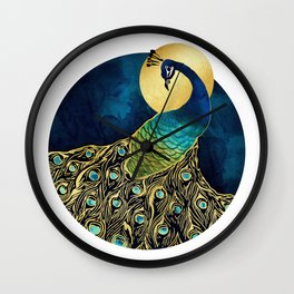 Golden Peacock Wall Clock