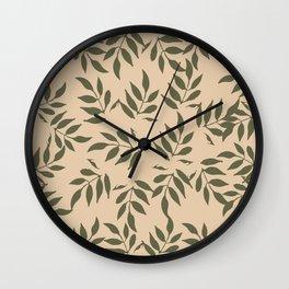 Simple green leaves Wall Clock