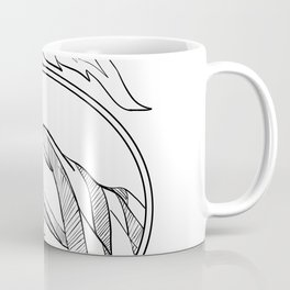 Hand Holding Statue of Liberty Torch Drawing Black and White Coffee Mug