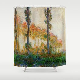 Autumn Trees in full fall foliage by the marshes landscape painting by Claude Monet Shower Curtain