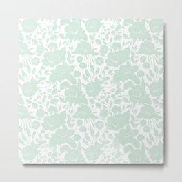 Vintage elegant pastel green white stylish floral Metal Print