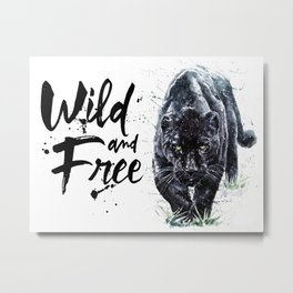 Panther watercolor painting predator animals puma jaguar wild & fre Metal Print