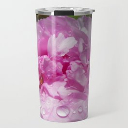 Pink Peony with Rain Drops Travel Mug