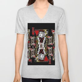 BLACK KING OF HEARTS CASINO PLAYING CARDS FROM Unisex V-Neck