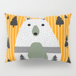 Cute bear, stripes and a fir forest Pillow Sham