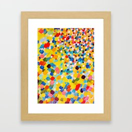 SWEPT AWAY 2 - Vibrant Colorful Rainbow Mango Yellow Waves Mermaid Splash Abstract Acrylic Painting Framed Art Print