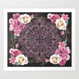Mandala Night Rose Gold Garden Pink Black Yellow Art Print